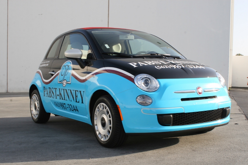 Custom Designed Vehicle Wrap On A Fiat 500 Long Beach Ca