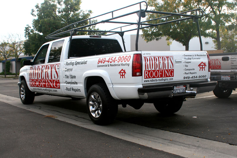 Roofing Vehicle Wrap : Partial wrap for roberts roofing orange county ca