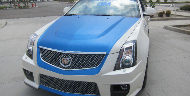 Cadillac Ctsv With Metallic Blue Vinyl Wrap