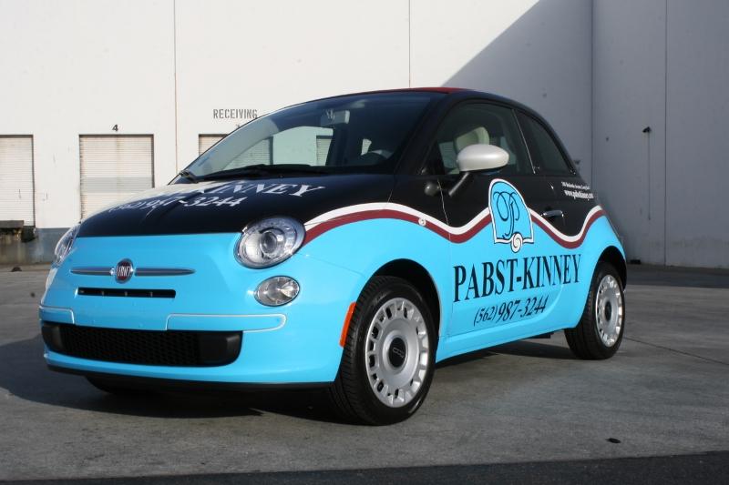 Custom Designed Vehicle Wrap On A Fiat 500 Long Beach Ca
