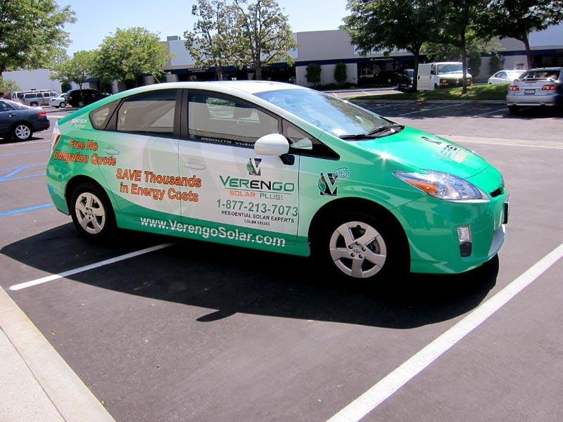 Full Vehicle Wrap For Verengo Solar Prius Fleet Orange